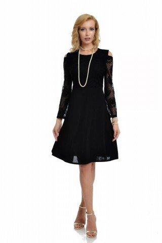 Rochie eleganta neagra cu maneci lungi din dantela si umeri decupati