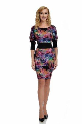 Rochie eleganta multicolora cu talie marcata, buzunare si maneci bufante