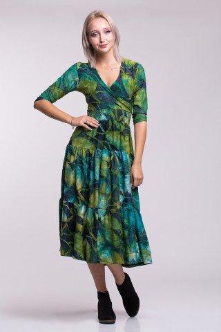 Rochie cocktail midi cu imprimeu verde-albastru