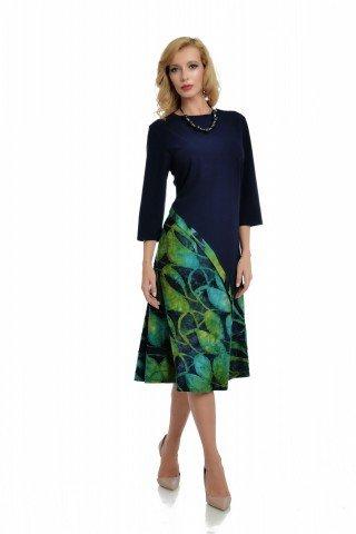Rochie bleumarin cu insertie asimetrica verde-albastru siu maneci trei sferturi