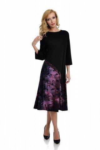 Rochie eleganta neagra cu bordura asimetrica in nuante de violet