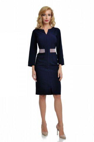 Rochie bleumarin eleganta cu cordon multicolor