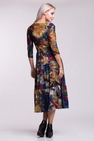 Rochie multicolora cu elastic in talie, decolteu petrecut si volane