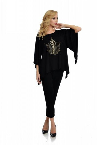 Bluza eleganta asimetrica neagra cu imprimeu auriu panza de paianjen