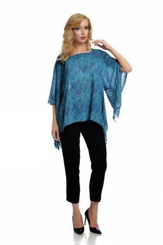 Bluza vaporoasa asimetria cu imprimeu frunze in nuante de albastru