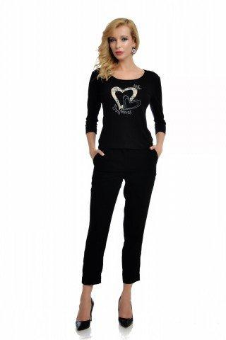 Bluza casual neagra cu inimioare si strasuri
