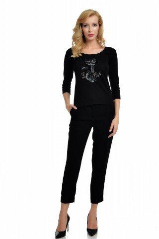 Bluza neagra casual cu imprimeu pisica si strasuri