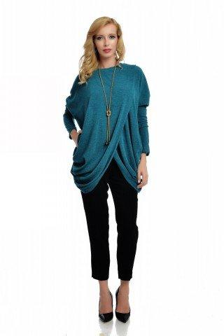 Tunica asimetrica verde din tricotaj fin cu drapaje