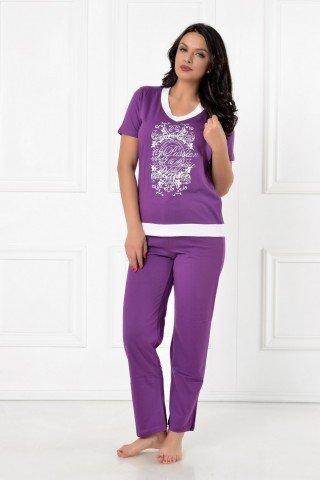 Pijama mov cu imprimeu alb-argintiu si anchior