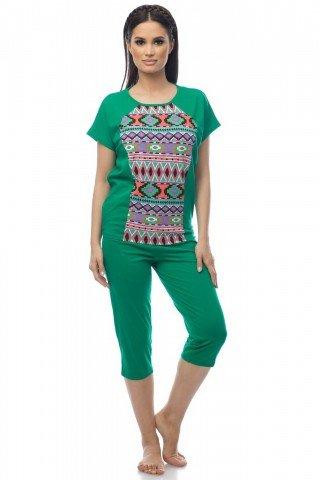 Pijama verde cu motive traditionale multicolore