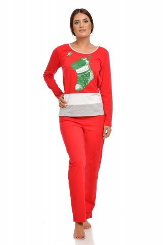 Pijama rosie de Craciun cu insertie alb-gri si imprimeu festiv
