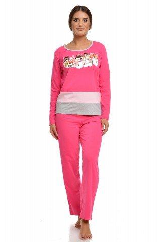 Pijama de Craciun roz cu imprimeu oameni de zapada