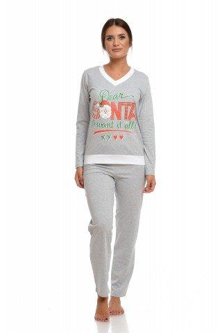 Pijama de Craciun gri cu imprimeu Dear Santa I want it all!