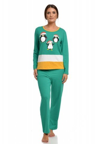 Pijama de Craciun vernil cu bordura alb-galbena si pinguini festivi