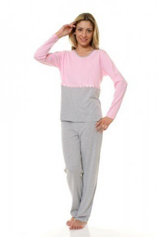 Pijama gri-roz cu broderie floarala