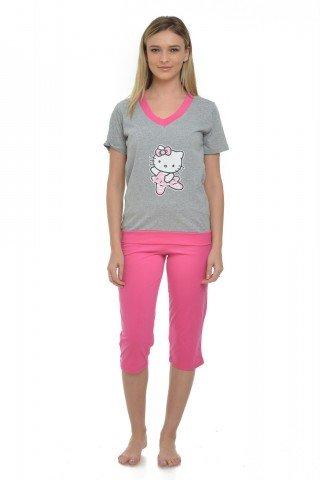Pijama gri-roz cu imprimeu Hello Kitty