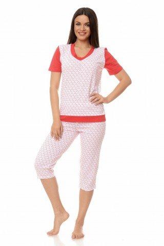 Pijama alb-rosu cu model din inimioare