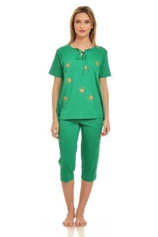 Pijama verde cu imprimeu floral si decolteu cu snur