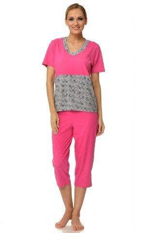 Pijama roz-gri cu imprimeu vacute si inimioare
