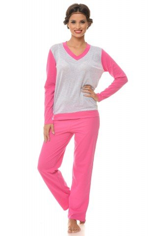 Pijama roz-gri cu dungi si maneca lunga