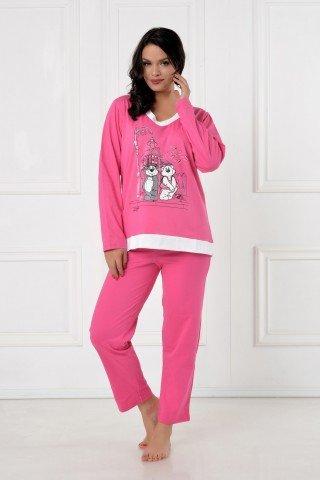 Pijama roz cu imprimeu, anchior si bordura albe