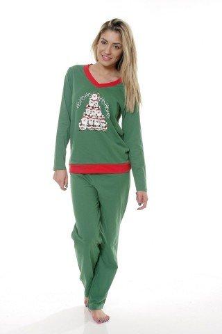 Pijama de Craciun verde cu bordaj rosu si imprimeu festiv
