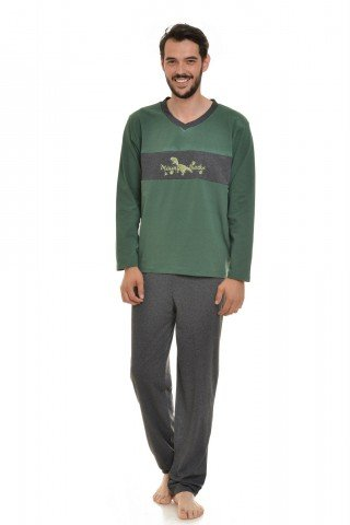 Pijama gri-verde inchis cu imprimeu Mountain Tracks