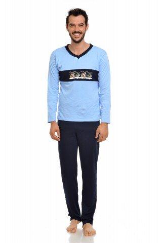 Pijama de Craciun bleumarin-bleu cu imprimeu