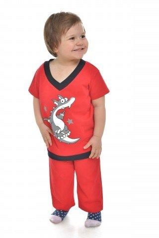 Pijama rosie cu anchior si bordura negre si imprimeu dinozaur