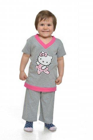 Pijama gri cu roz si imprimeu Hello Kitty