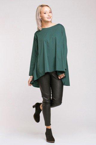 Bluza asimetrica poplin verde inchis cu pliuri pe spate