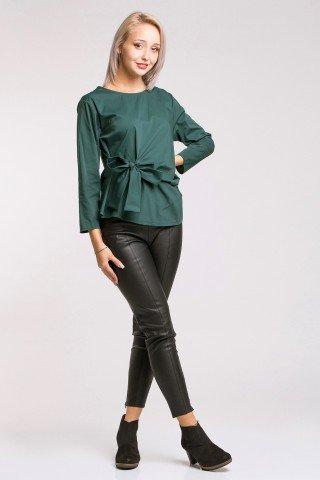 Bluza din poplin verde inchis cu funda dreapta Lulu