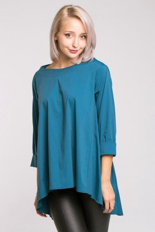 Bluza asimetrica albastra din poplin cu falduri spate