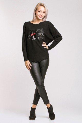Pulover negru cu aplicatie pisici cu paiete si fundite Kitten