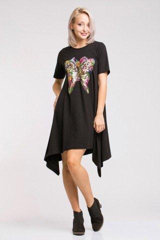 Rochie asimetrica din bumbac negru cu aplicatie multicolora Butterfly