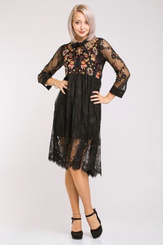 Rochie eleganta neagra din dantela cu broderie multicolora