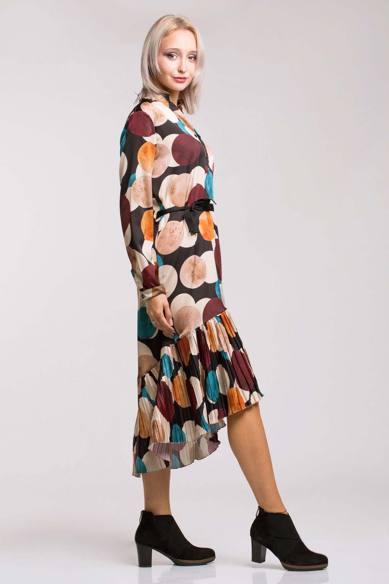 Rochie cu imprimeu retro, volan asimetric plisat si cordon negru