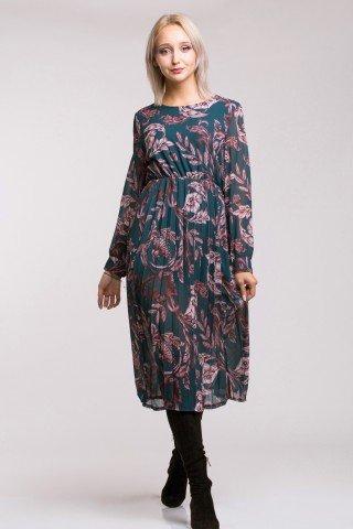 Rochie eleganta midi plisata cu imprimeu mov  Isra