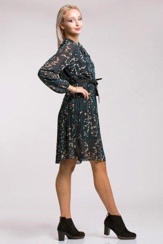 Rochie plisata cu imprimeu multicolor si decolteu cu funda Irene