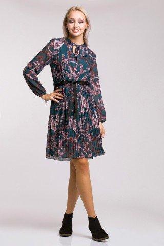 Rochie plisata cu imprimeu mov cordon negru si decolteu cu funda