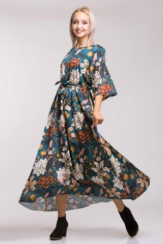 Rochie lunga albastru mineral cu imprimeu floral