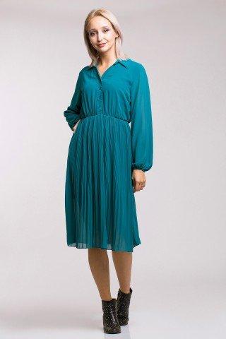 Rochie vaporoasa turcoaz cu pliseuri si top stil camasa