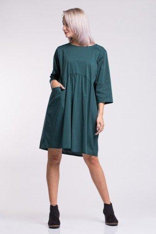 Rochie verde inchis din poplin cu pliuri si buzunare