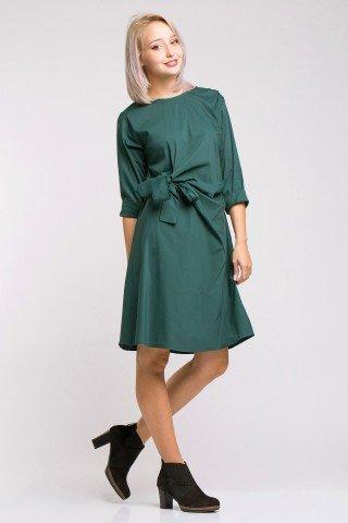 Rochie verde inchis din poplin cu funda laterala