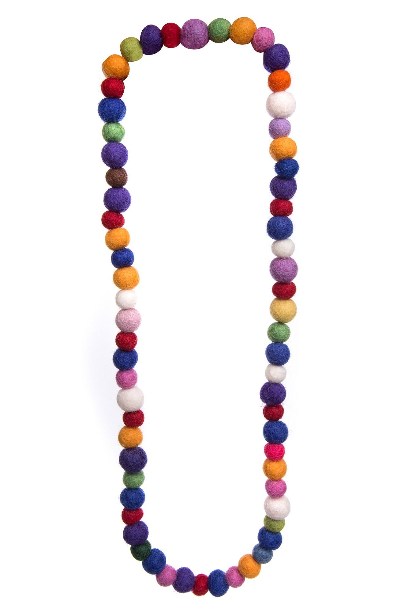 Colier multicolor cu margele din fetru