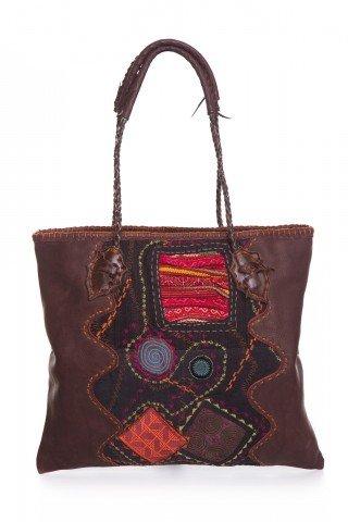 Geanta unicat lucrata manual din piele si insertii textile multicolore
