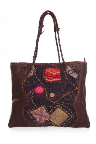 Geanta unicat lucrata manual din piele cu petice textile multicolore
