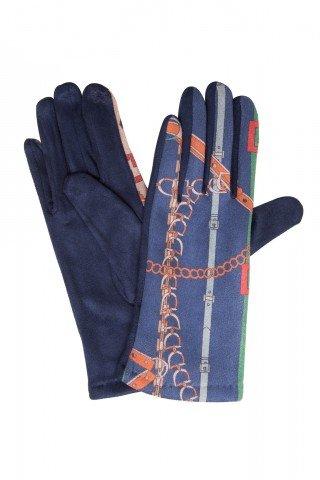 Manusi elegante bleumarin cu imprimeu si broderie touch screen