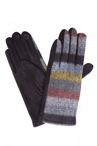 Manusi elegante negre cu lana in dungi si broderie index