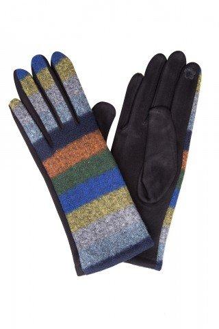 Manusi cu lana in dungi multicolore si broderie touch screen